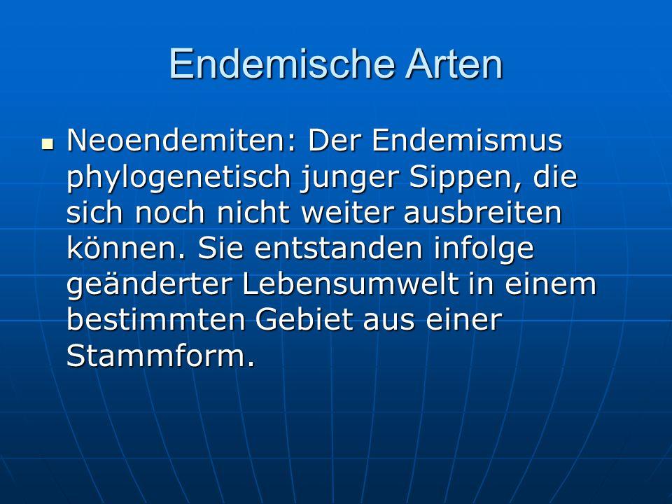 Endemische Arten Neoendemiten: Der Endemismus phylogenetisch junger Sippen, die sich noch nicht weiter ausbreiten können. Sie entstanden infolge geänd