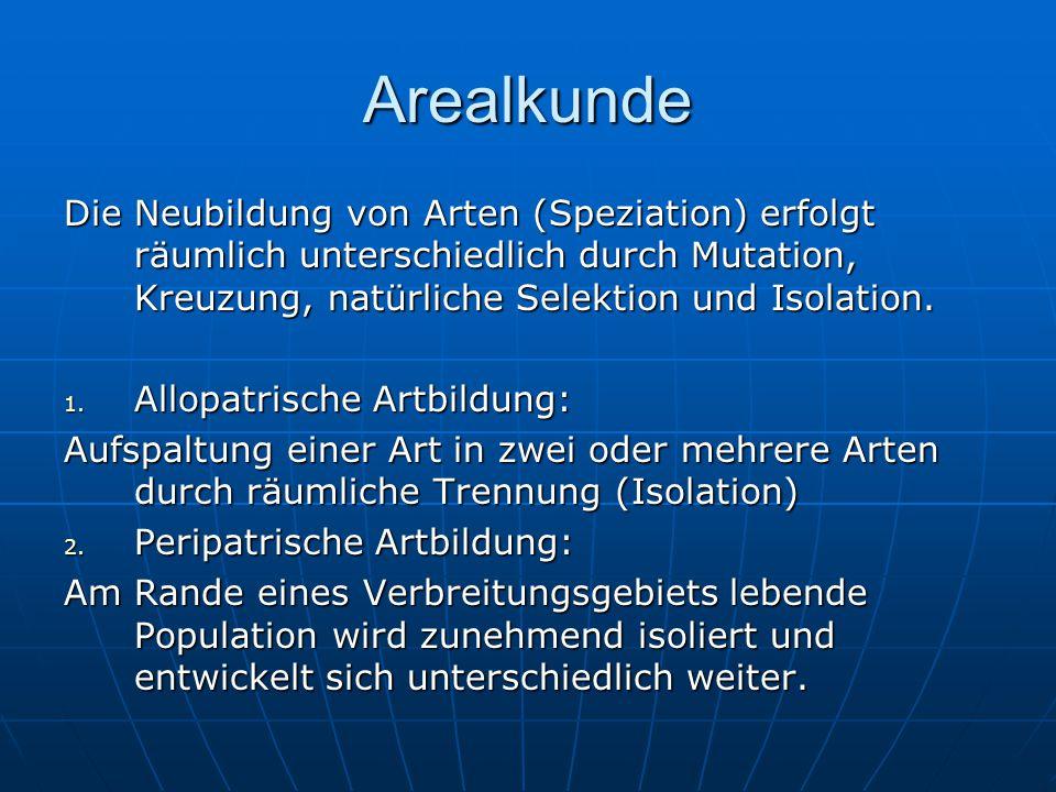 Arealkunde Die Neubildung von Arten (Speziation) erfolgt räumlich unterschiedlich durch Mutation, Kreuzung, natürliche Selektion und Isolation. 1. All