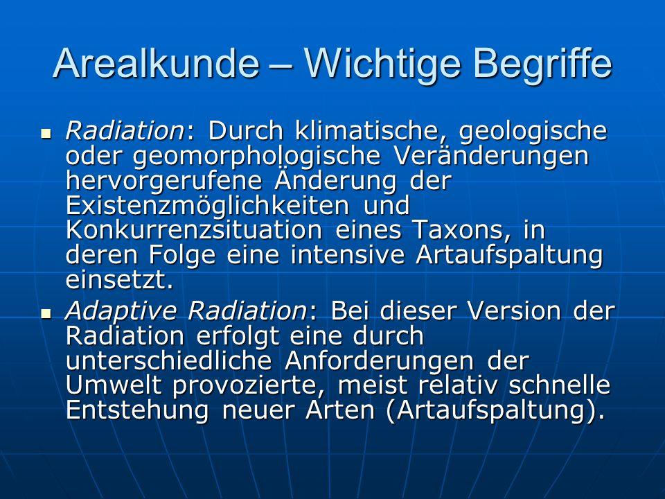 Arealkunde – Wichtige Begriffe Radiation: Durch klimatische, geologische oder geomorphologische Veränderungen hervorgerufene Änderung der Existenzmögl