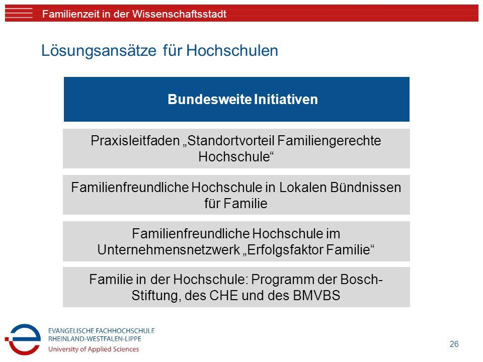 """Familienzeit in der Wissenschaftsstadt Lösungsansätze für Hochschulen 26 Praxisleitfaden """"Standortvorteil Familiengerechte Hochschule"""" Familienfreundl"""
