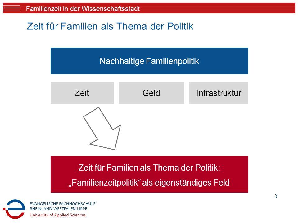 """Familienzeit in der Wissenschaftsstadt 3 Zeit für Familien als Thema der Politik: """"Familienzeitpolitik"""" als eigenständiges Feld ZeitGeldInfrastruktur"""