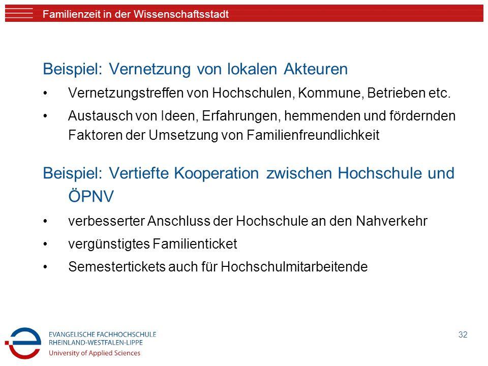 Familienzeit in der Wissenschaftsstadt Beispiel: Vernetzung von lokalen Akteuren Vernetzungstreffen von Hochschulen, Kommune, Betrieben etc.