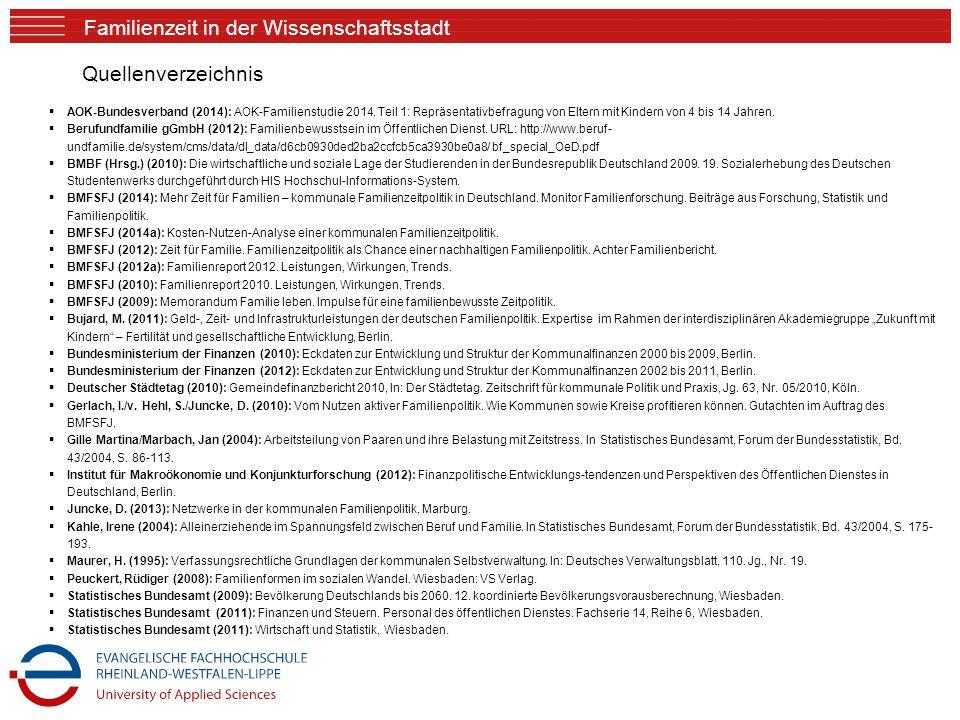 Familienzeit in der Wissenschaftsstadt Quellenverzeichnis  AOK-Bundesverband (2014): AOK-Familienstudie 2014. Teil 1: Repräsentativbefragung von Elte