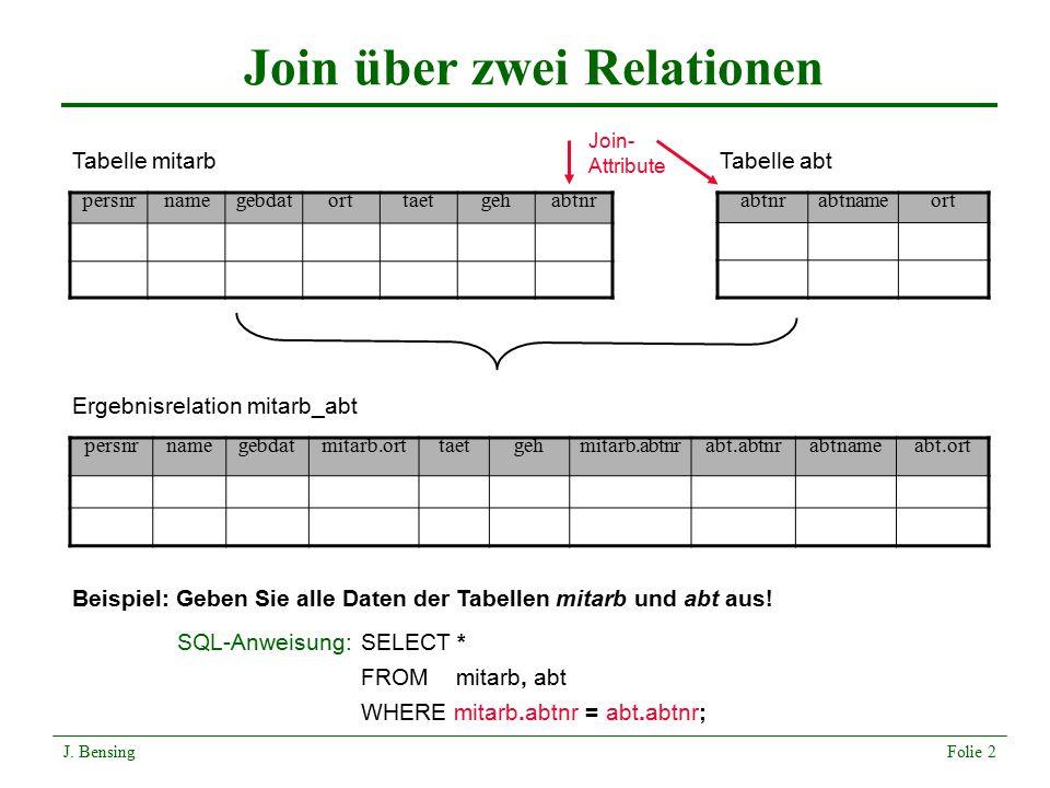 Join über zwei Relationen persnrnamegebdatorttaetgehabtnr abtnameort Tabelle mitarbTabelle abt Ergebnisrelation mitarb_abt persnrnamegebdatmitarb.ortt