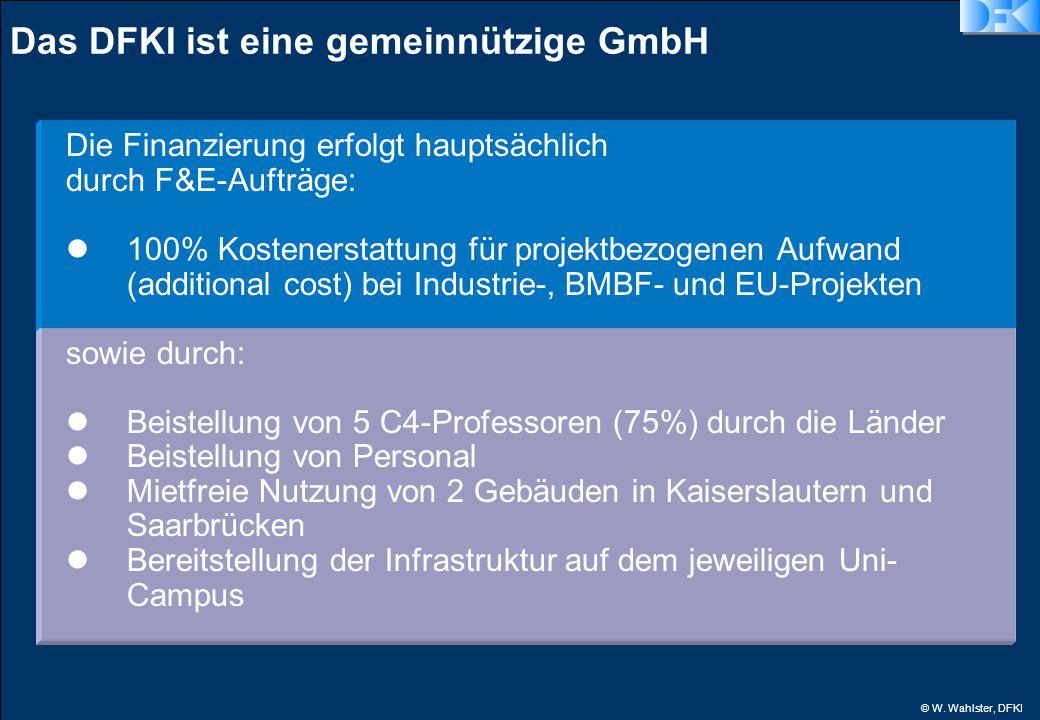© W. Wahlster, DFKI Das DFKI ist eine gemeinnützige GmbH Die Finanzierung erfolgt hauptsächlich durch F&E-Aufträge: 100% Kostenerstattung für projektb