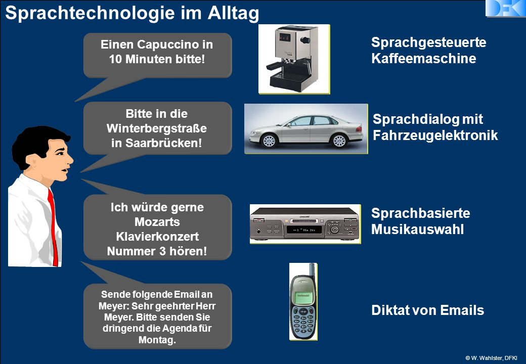 © W. Wahlster, DFKI Sprachtechnologie im Alltag Einen Capuccino in 10 Minuten bitte.