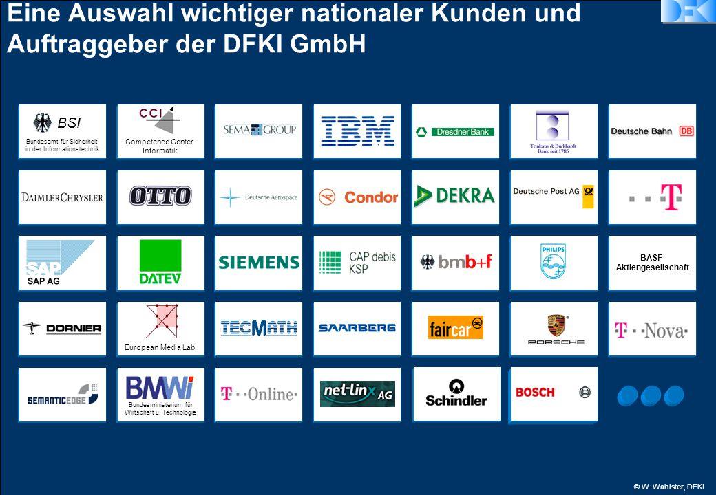 © W. Wahlster, DFKI Eine Auswahl wichtiger nationaler Kunden und Auftraggeber der DFKI GmbH European Media Lab Bundesamt für Sicherheit in der Informa