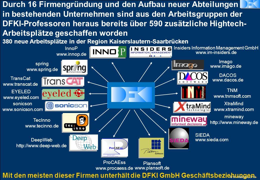 © W. Wahlster, DFKI Mit den meisten dieser Firmen unterhält die DFKI GmbH Geschäftsbeziehungen.