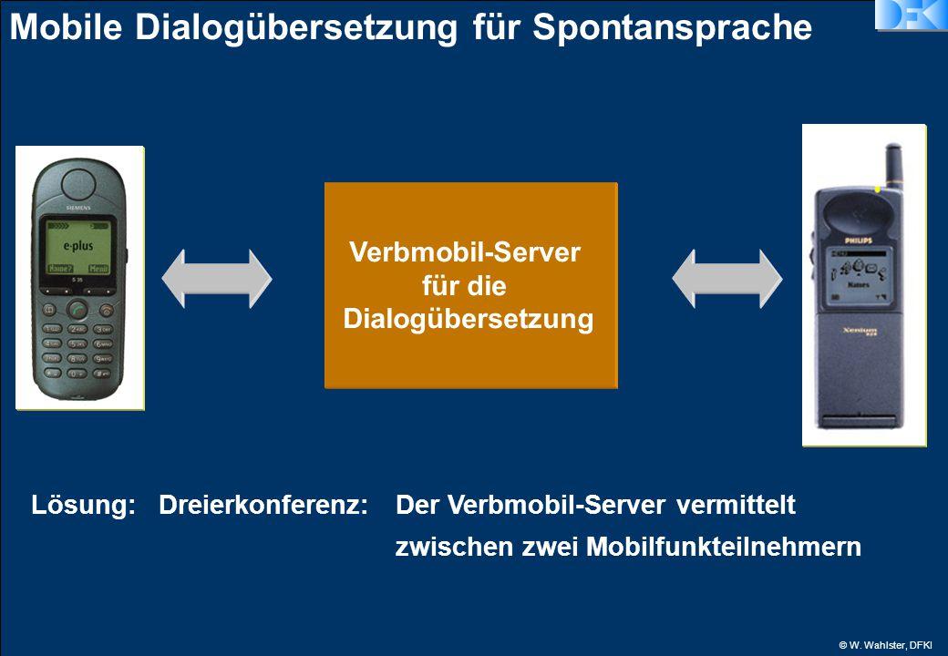 © W. Wahlster, DFKI Mobile Dialogübersetzung für Spontansprache Verbmobil-Server für die Dialogübersetzung Lösung:Dreierkonferenz: Der Verbmobil-Serve