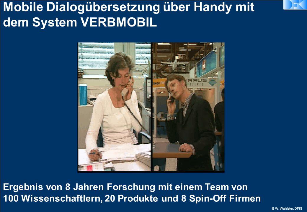 © W. Wahlster, DFKI Mobile Dialogübersetzung über Handy mit dem System VERBMOBIL Ergebnis von 8 Jahren Forschung mit einem Team von 100 Wissenschaftle