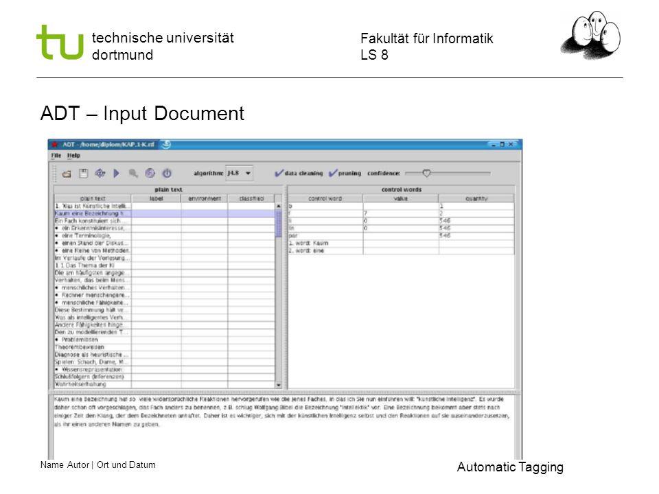 Name Autor | Ort und Datum Fakultät für Informatik LS 8 technische universität dortmund ADT – Input Document Automatic Tagging