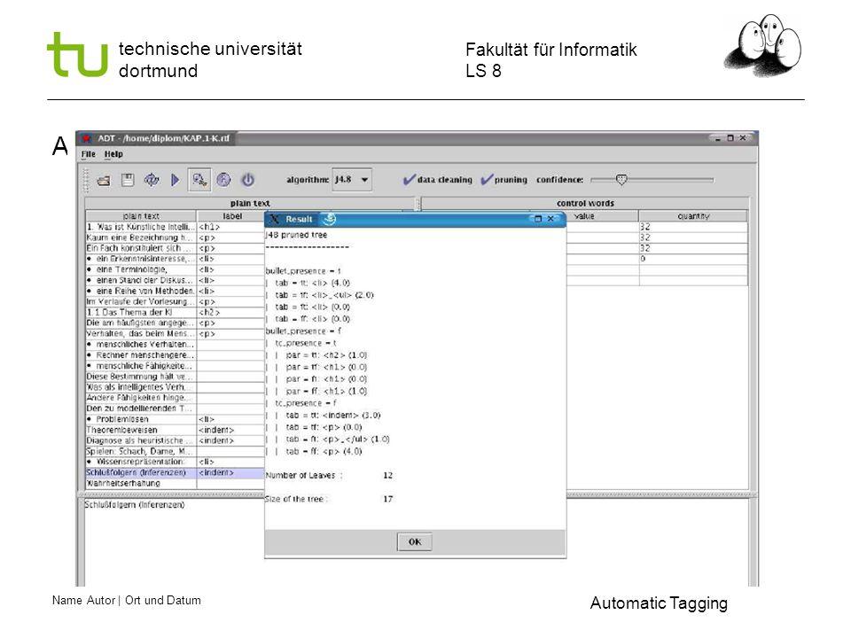 Name Autor | Ort und Datum Fakultät für Informatik LS 8 technische universität dortmund ADT -- Learning Automatic Tagging