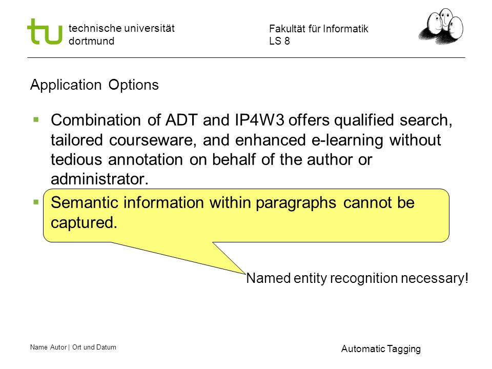 Name Autor | Ort und Datum Fakultät für Informatik LS 8 technische universität dortmund Application Options Automatic Tagging Named entity recognition necessary.