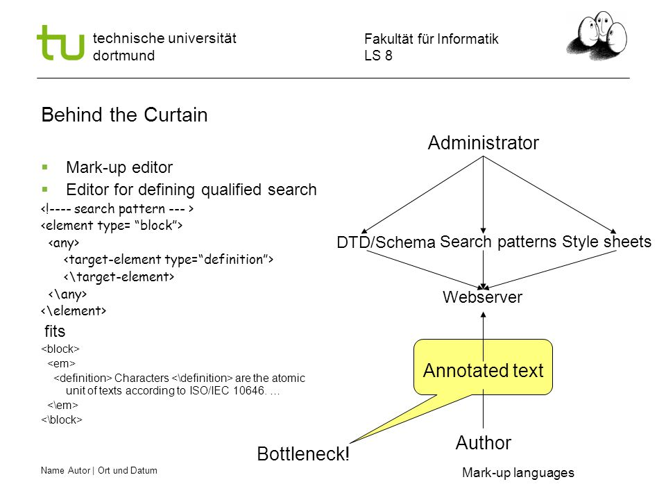Name Autor | Ort und Datum Fakultät für Informatik LS 8 technische universität dortmund Behind the Curtain  Mark-up editor  Editor for defining qualified search fits Characters are the atomic unit of texts according to ISO/IEC 10646.