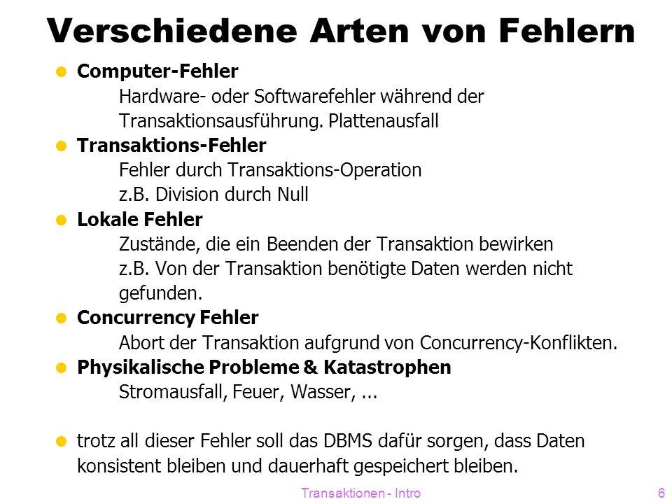 Transaktionen - Intro6 Verschiedene Arten von Fehlern  Computer-Fehler Hardware- oder Softwarefehler während der Transaktionsausführung. Plattenausfa