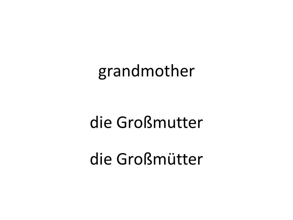 grandmother die Großmutter die Großmütter