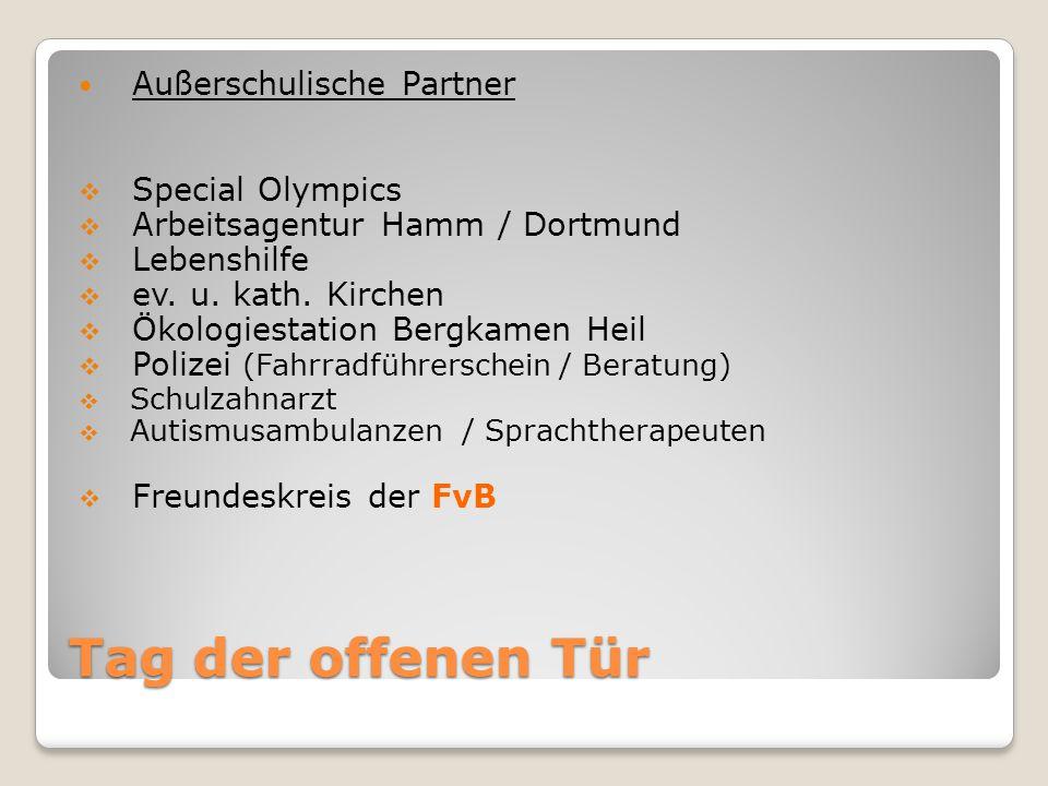 Tag der offenen Tür Außerschulische Partner  Special Olympics  Arbeitsagentur Hamm / Dortmund  Lebenshilfe  ev.