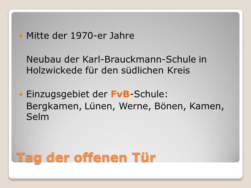 Tag der offenen Tür Mitte der 1970-er Jahre Neubau der Karl-Brauckmann-Schule in Holzwickede für den südlichen Kreis Einzugsgebiet der FvB-Schule: Bergkamen, Lünen, Werne, Bönen, Kamen, Selm