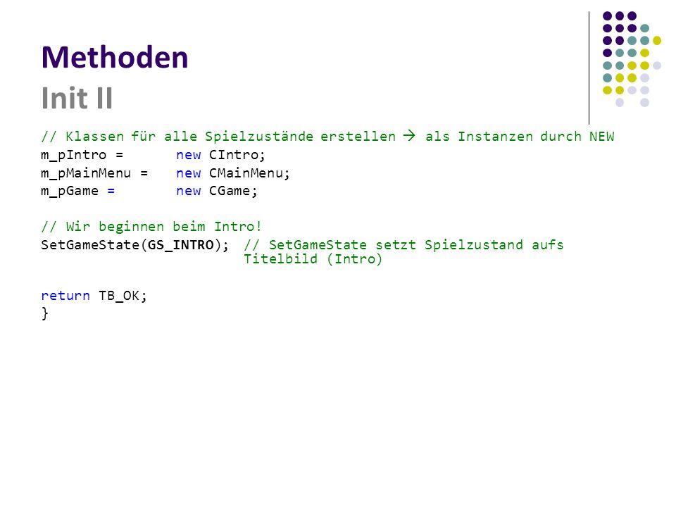 Methoden Init II // Klassen für alle Spielzustände erstellen  als Instanzen durch NEW m_pIntro = new CIntro; m_pMainMenu = new CMainMenu; m_pGame = new CGame; // Wir beginnen beim Intro.