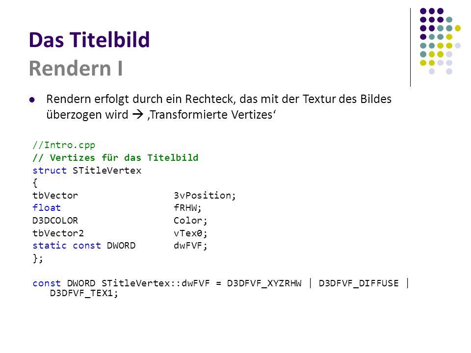 Das Titelbild Rendern I //Intro.cpp // Vertizes für das Titelbild struct STitleVertex { tbVector3vPosition; floatfRHW; D3DCOLORColor; tbVector2vTex0; static const DWORDdwFVF; }; const DWORD STitleVertex::dwFVF = D3DFVF_XYZRHW | D3DFVF_DIFFUSE | D3DFVF_TEX1; Rendern erfolgt durch ein Rechteck, das mit der Textur des Bildes überzogen wird  'Transformierte Vertizes'