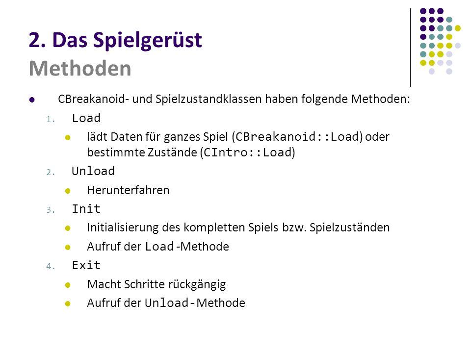 2. Das Spielgerüst Methoden CBreakanoid- und Spielzustandklassen haben folgende Methoden: 1. Load lädt Daten für ganzes Spiel ( CBreakanoid::Load ) od