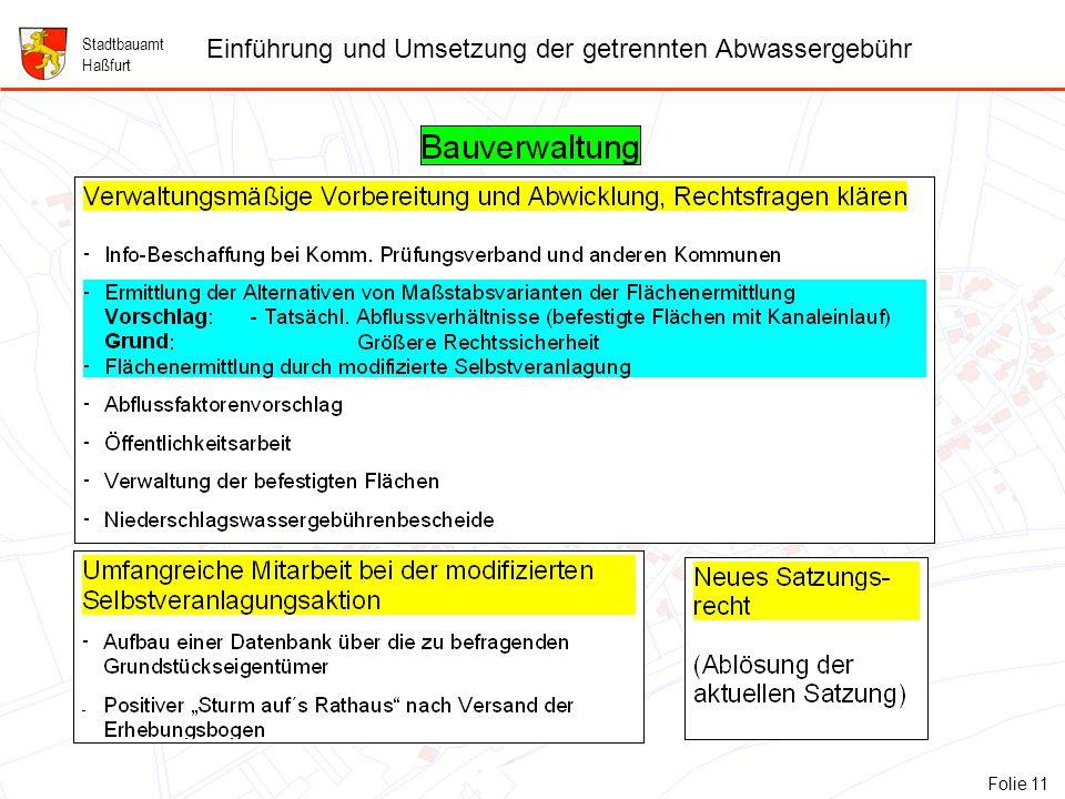 11 Folie 11: Bauverwaltung Stadtbauamt Haßfurt Einführung und Umsetzung der getrennten Abwassergebühr Folie 11