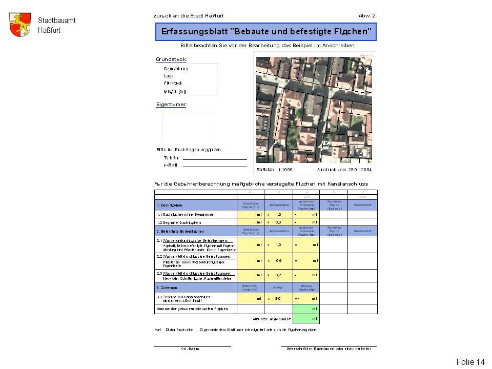 14 Stadtbauamt Haßfurt Folie 14 Folie 14: Erfassungsblatt