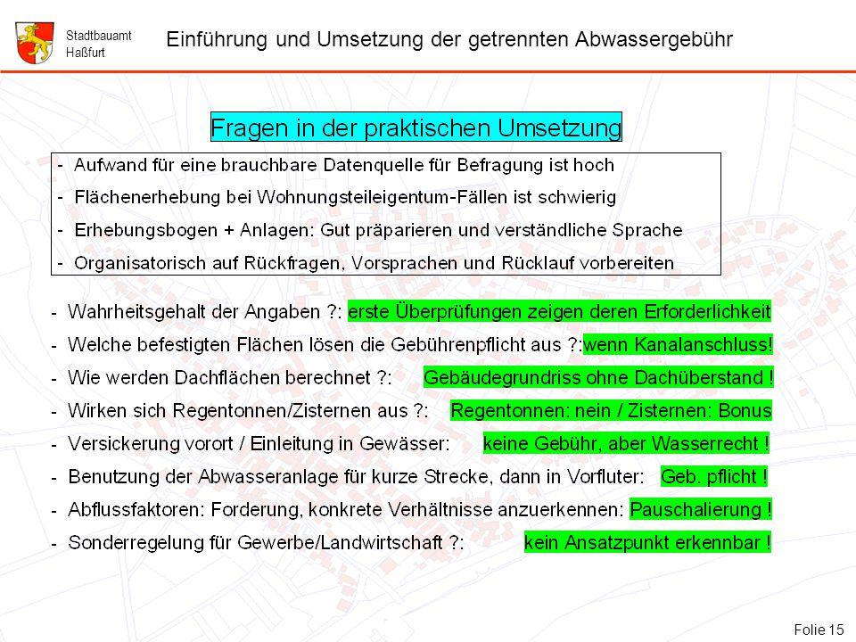 15 Folie 15: Fragen in der praktischen Umsetzung Stadtbauamt Haßfurt Einführung und Umsetzung der getrennten Abwassergebühr Folie 15