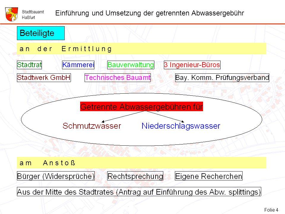 4 Folie 4: Beteiligte Stadtbauamt Haßfurt Einführung und Umsetzung der getrennten Abwassergebühr Beteiligte a n d e r E r m i t t l u n g a m A n s t o ß Folie 4
