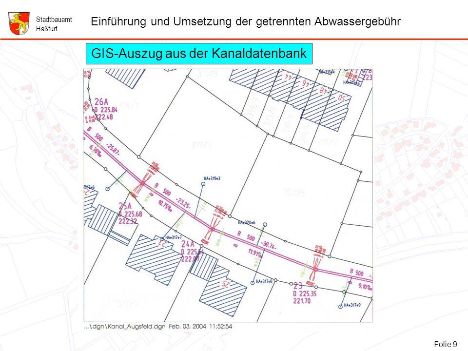 9 Folie 9: GIS-Auszug aus der Kanaldatenbank Stadtbauamt Haßfurt Einführung und Umsetzung der getrennten Abwassergebühr Folie 9 GIS-Auszug aus der Kanaldatenbank