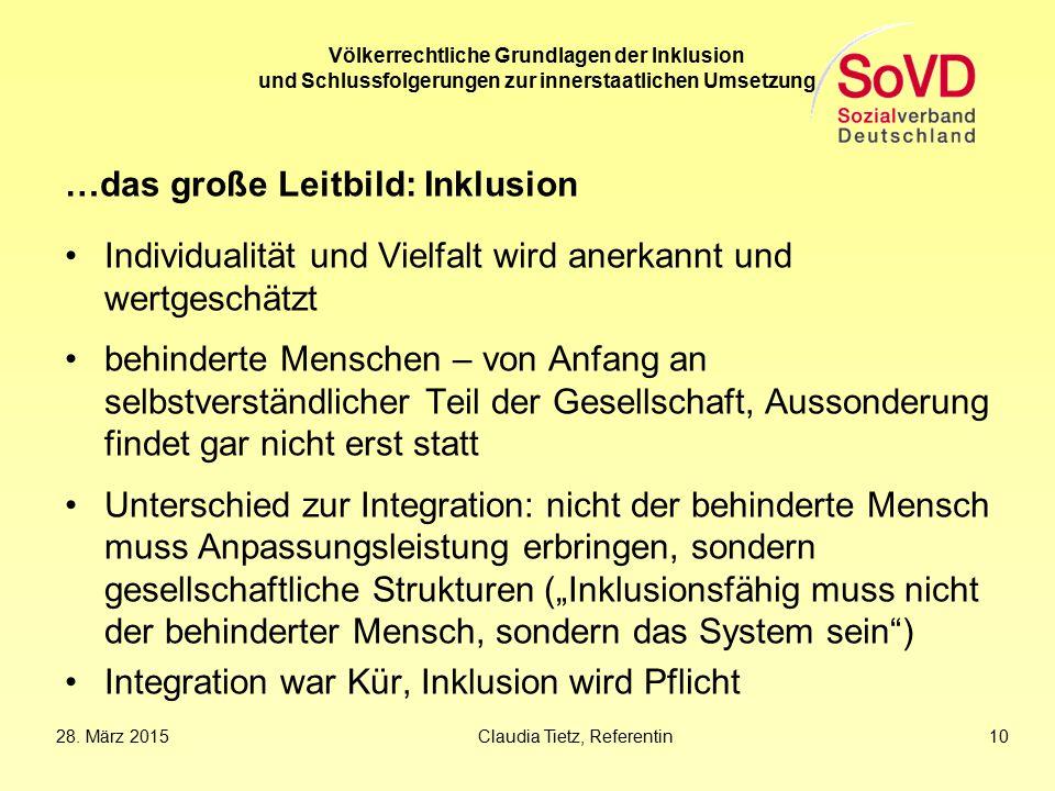 28. März 2015Claudia Tietz, Referentin 10 Völkerrechtliche Grundlagen der Inklusion und Schlussfolgerungen zur innerstaatlichen Umsetzung …das große L