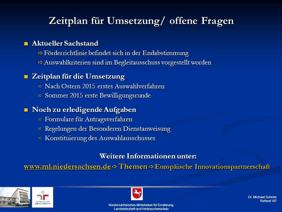 Dr. Michael Schrörs Referat 107 Niedersächsisches Ministerium für Ernährung, Landwirtschaft und Verbraucherschutz Zeitplan für Umsetzung/ offene Frage