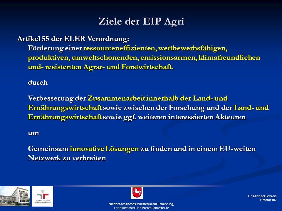 Dr. Michael Schrörs Referat 107 Niedersächsisches Ministerium für Ernährung, Landwirtschaft und Verbraucherschutz Ziele der EIP Agri Artikel 55 der EL
