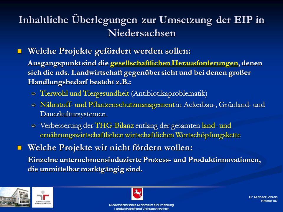Dr. Michael Schrörs Referat 107 Niedersächsisches Ministerium für Ernährung, Landwirtschaft und Verbraucherschutz Inhaltliche Überlegungen zur Umsetzu