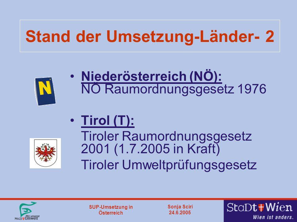 SUP-Umsetzung in Österreich Sonja Sciri 24.6.2005 Stand der Umsetzung-Länder- 2 Niederösterreich (NÖ): NÖ Raumordnungsgesetz 1976 Tirol (T): Tiroler Raumordnungsgesetz 2001 (1.7.2005 in Kraft) Tiroler Umweltprüfungsgesetz