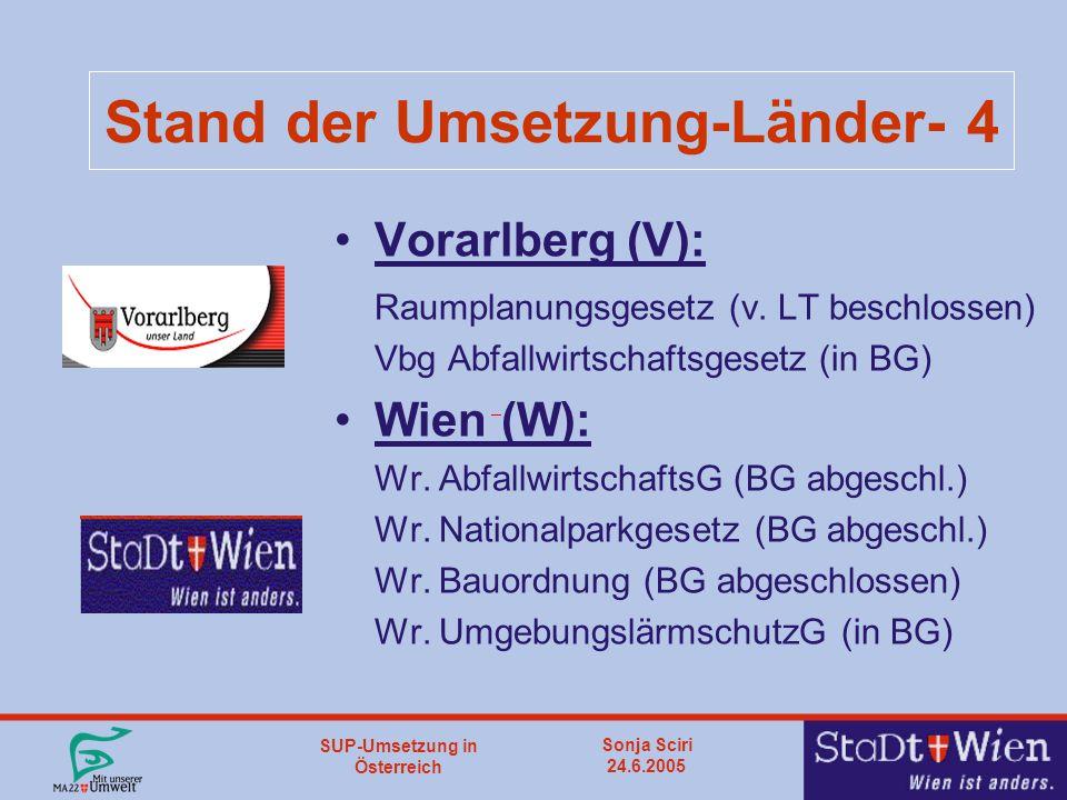 SUP-Umsetzung in Österreich Sonja Sciri 24.6.2005 Stand der Umsetzung-Länder- 4 Vorarlberg (V): Raumplanungsgesetz (v.