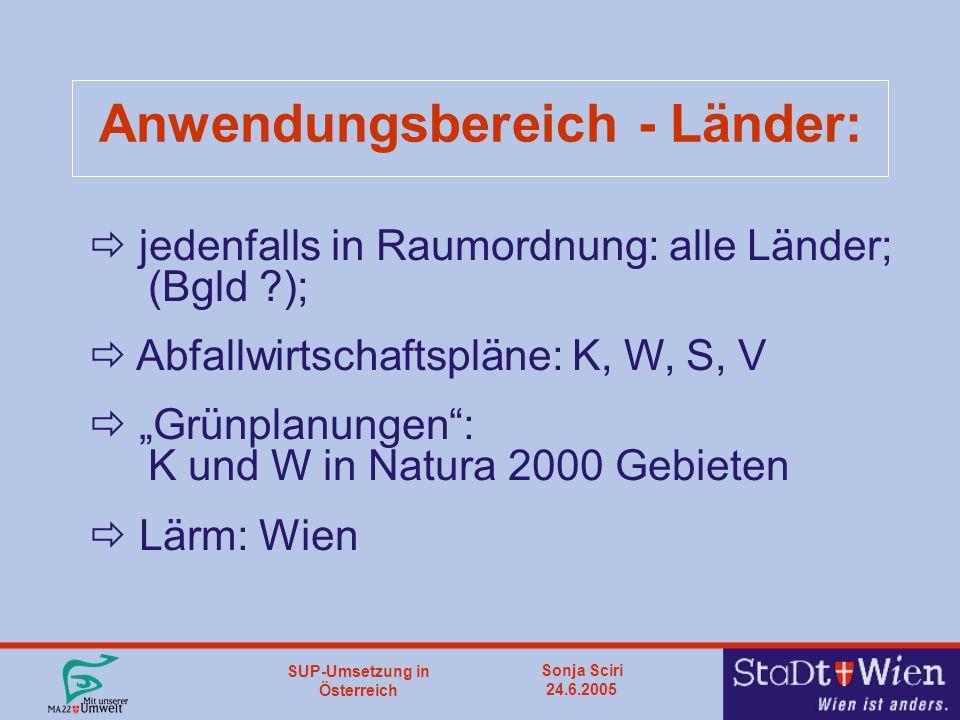 """SUP-Umsetzung in Österreich Sonja Sciri 24.6.2005 Anwendungsbereich - Länder:  jedenfalls in Raumordnung: alle Länder; (Bgld );  Abfallwirtschaftspläne: K, W, S, V  """"Grünplanungen : K und W in Natura 2000 Gebieten  Lärm: Wien"""