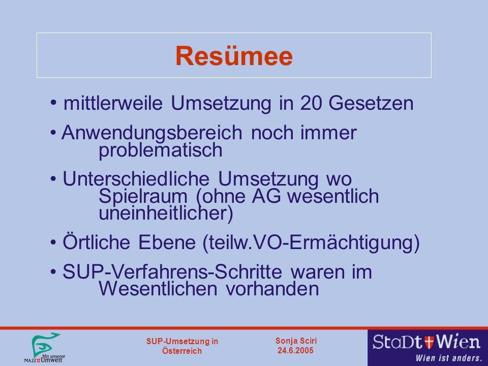 SUP-Umsetzung in Österreich Sonja Sciri 24.6.2005 Resümee mittlerweile Umsetzung in 20 Gesetzen Anwendungsbereich noch immer problematisch Unterschiedliche Umsetzung wo Spielraum (ohne AG wesentlich uneinheitlicher) Örtliche Ebene (teilw.VO-Ermächtigung) SUP-Verfahrens-Schritte waren im Wesentlichen vorhanden
