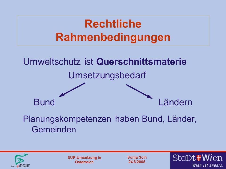 SUP-Umsetzung in Österreich Sonja Sciri 24.6.2005 Rechtliche Rahmenbedingungen Umweltschutz ist Querschnittsmaterie Umsetzungsbedarf Bund Ländern Planungskompetenzen haben Bund, Länder, Gemeinden