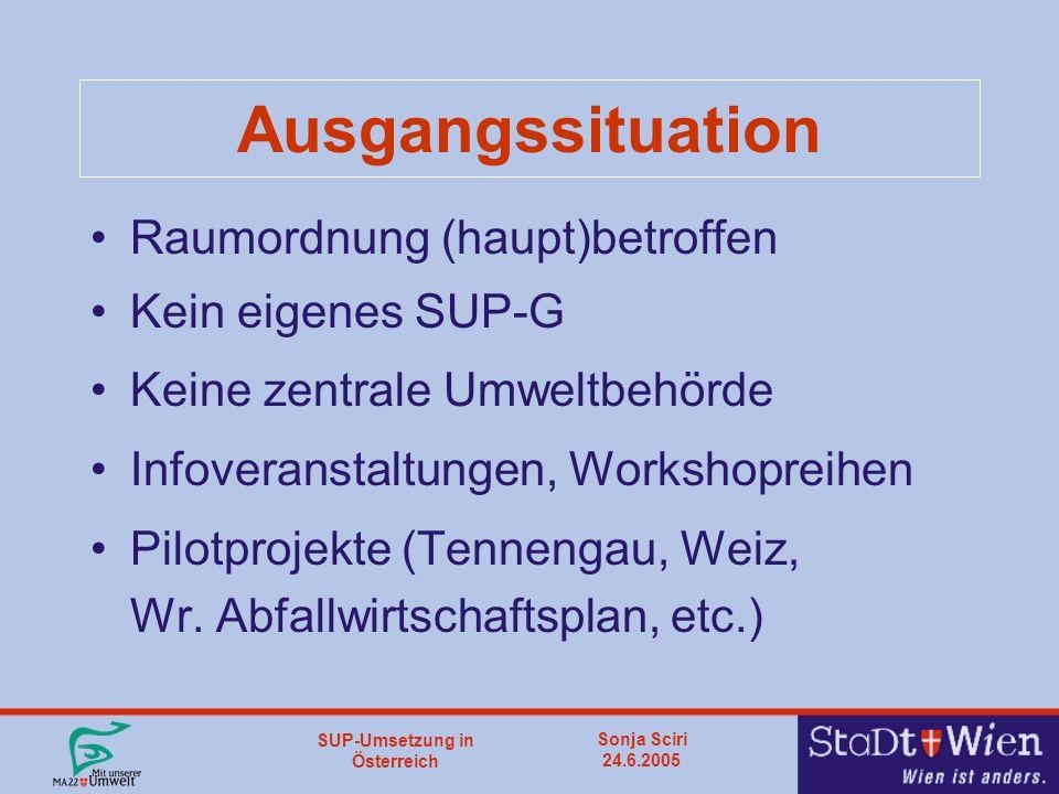SUP-Umsetzung in Österreich Sonja Sciri 24.6.2005 Ausgangssituation Raumordnung (haupt)betroffen Kein eigenes SUP-G Keine zentrale Umweltbehörde Infoveranstaltungen, Workshopreihen Pilotprojekte (Tennengau, Weiz, Wr.