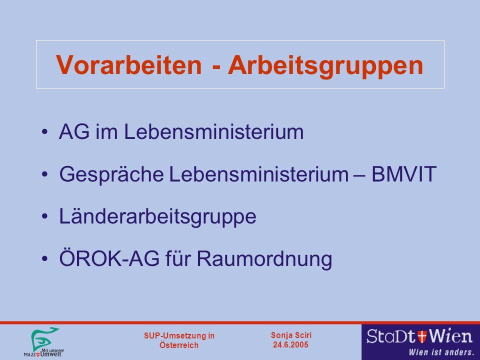 SUP-Umsetzung in Österreich Sonja Sciri 24.6.2005 Vorarbeiten - Arbeitsgruppen AG im Lebensministerium Gespräche Lebensministerium – BMVIT Länderarbeitsgruppe ÖROK-AG für Raumordnung