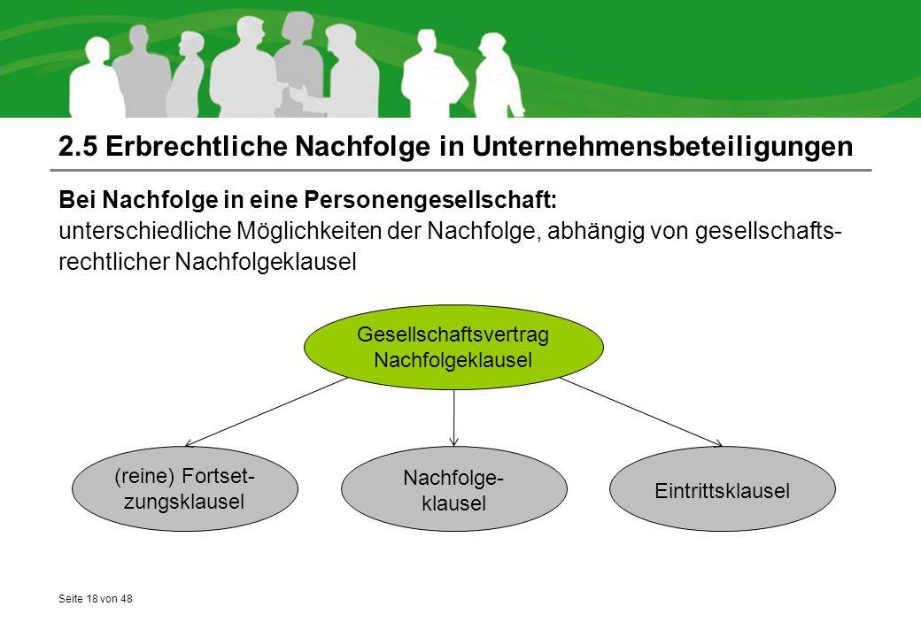 Seite 18 von 48 2.5 Erbrechtliche Nachfolge in Unternehmensbeteiligungen Bei Nachfolge in eine Personengesellschaft: unterschiedliche Möglichkeiten de