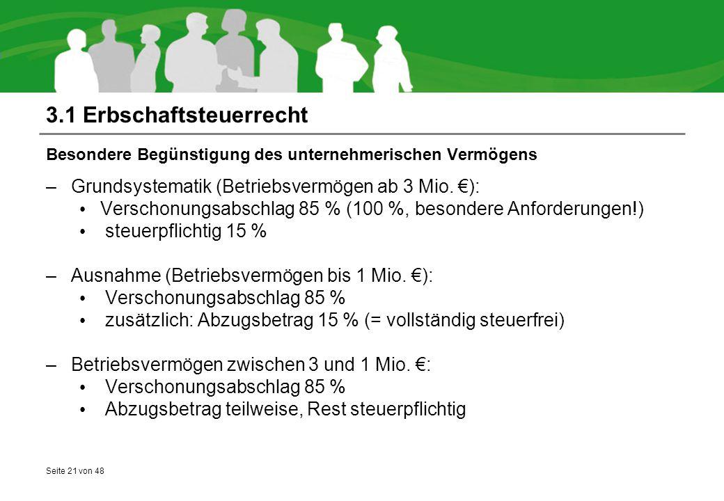 Seite 21 von 48 3.1 Erbschaftsteuerrecht Besondere Begünstigung des unternehmerischen Vermögens –Grundsystematik (Betriebsvermögen ab 3 Mio. €): Versc