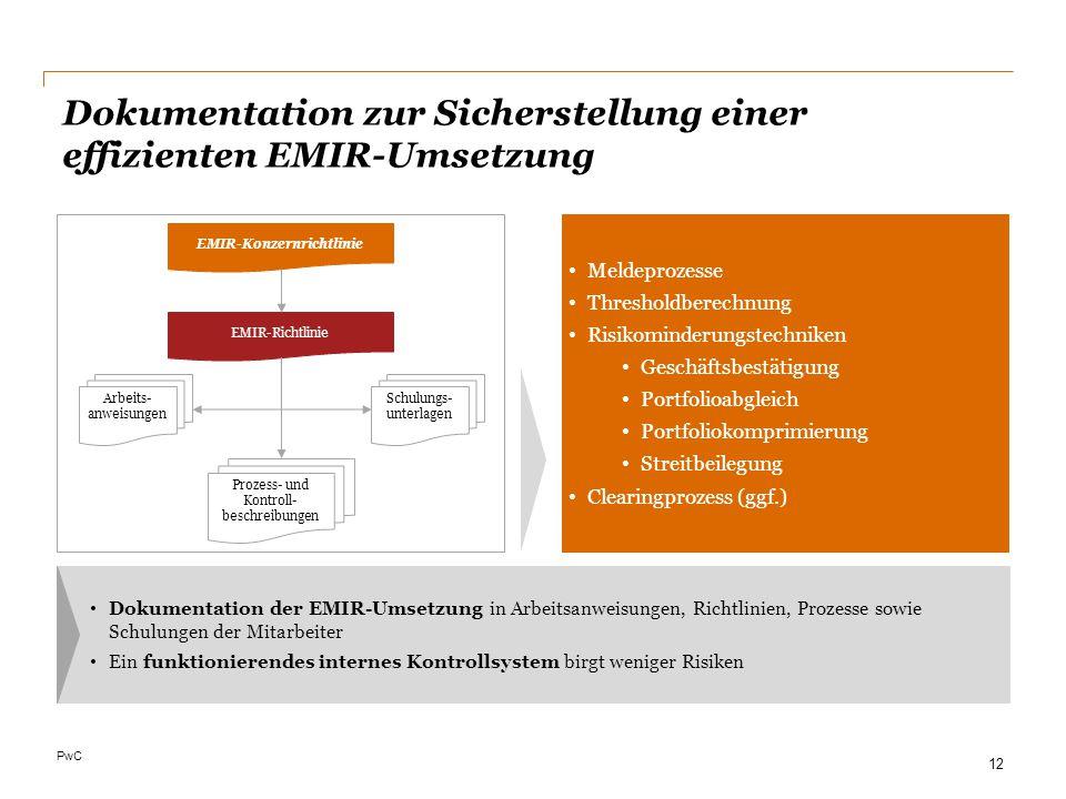 PwC Dokumentation zur Sicherstellung einer effizienten EMIR-Umsetzung Dokumentation der EMIR-Umsetzung in Arbeitsanweisungen, Richtlinien, Prozesse so