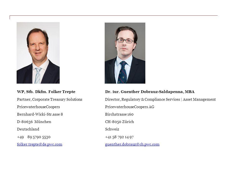 WP, Stb. Dkfm. Folker TrepteDr. iur. Guenther Dobrauz-Saldapenna, MBA Partner, Corporate Treasury SolutionsDirector, Regulatory & Compliance Services