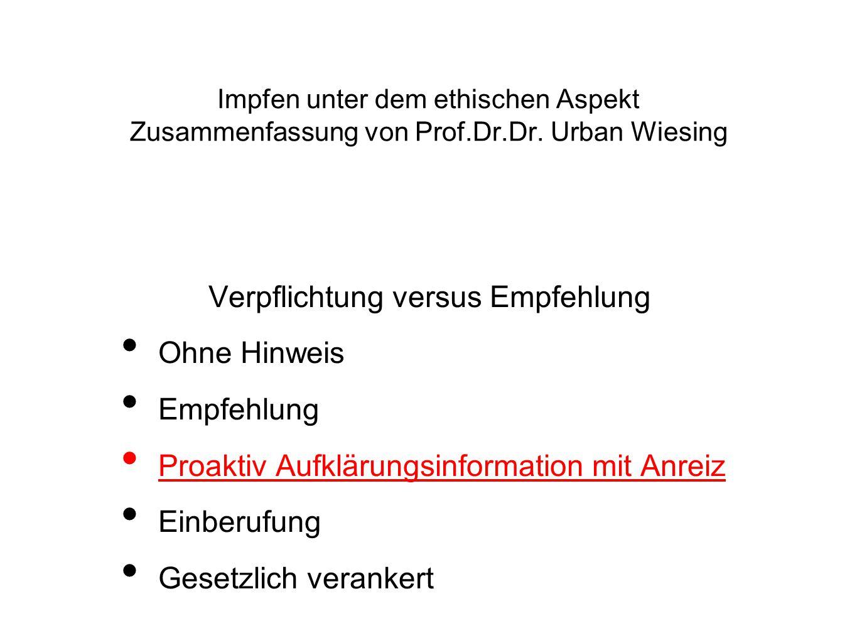 Vorgabe Österreichischer Impfplan BMG, Chancengleichheit für alle Kinder Recht auf kostenfreien Zugang, Recht auf Information - Ethik, Gesundheitsfolgen Einschätzung Bestmögliche Informationsquelle Arbeitsplatz -Schule AmtsärtzInnen/niedergelassene ÄrztInnen Präventivmedizin