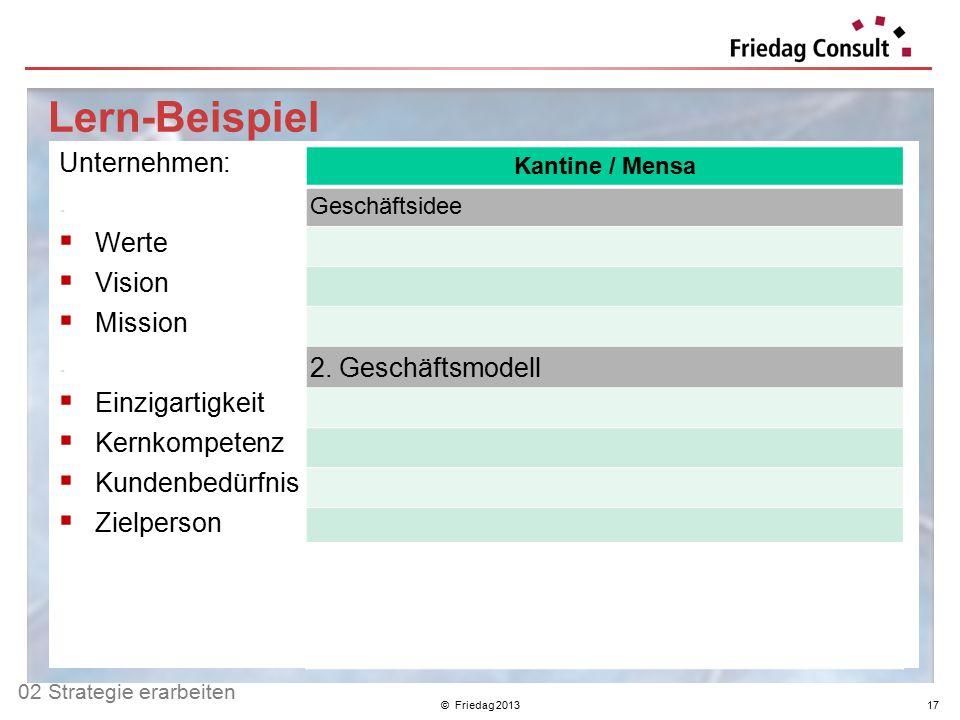 © Friedag 201317 Lern-Beispiel Unternehmen:.  Werte  Vision  Mission.  Einzigartigkeit  Kernkompetenz  Kundenbedürfnis  Zielperson.  UPO 1  U