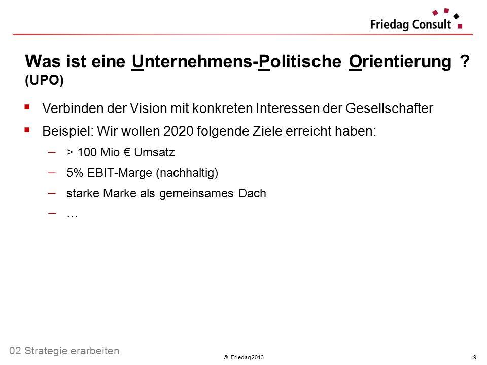 © Friedag 201319 Was ist eine Unternehmens-Politische Orientierung ? (UPO)  Verbinden der Vision mit konkreten Interessen der Gesellschafter  Beispi