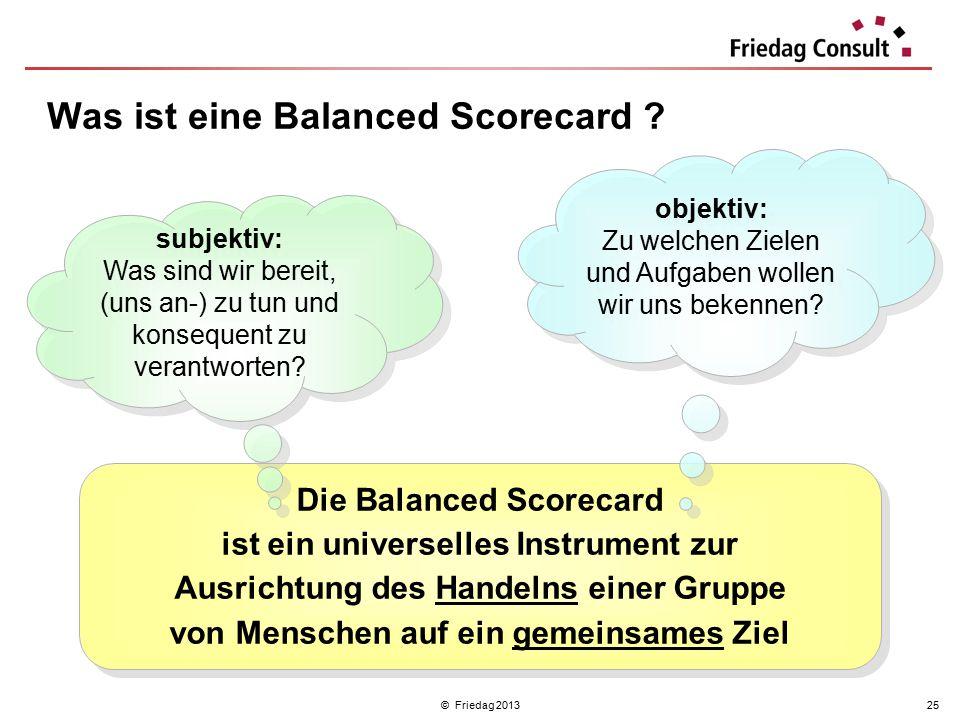 © Friedag 201325 Die Balanced Scorecard ist ein universelles Instrument zur Ausrichtung des Handelns einer Gruppe von Menschen auf ein gemeinsames Zie
