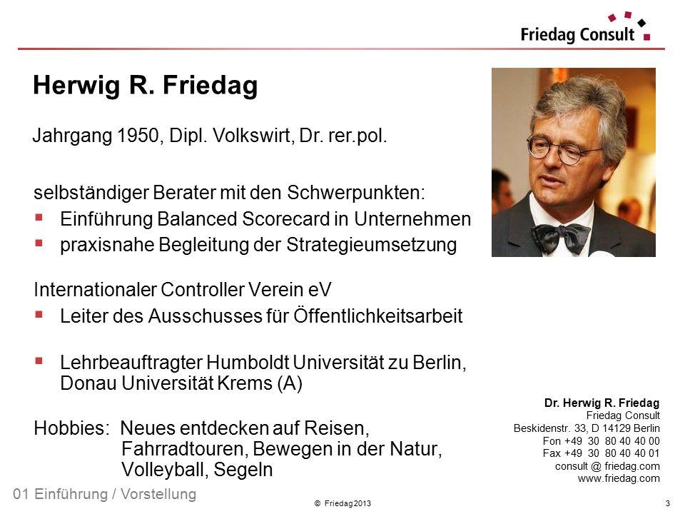 © Friedag 20133 selbständiger Berater mit den Schwerpunkten:  Einführung Balanced Scorecard in Unternehmen  praxisnahe Begleitung der Strategieumset